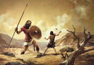 Бой между Голиафом и пастухом Давидом