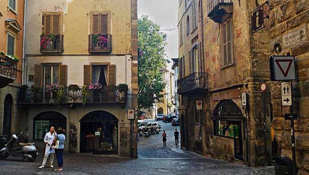 Красивые улицы города Бергамо (Италия)
