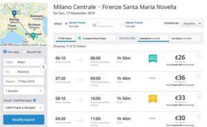 Поезд из Милана во Флоренцию от компании Trenitalia
