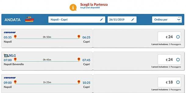 Стоимость билетов на паром из Неаполя до Капри